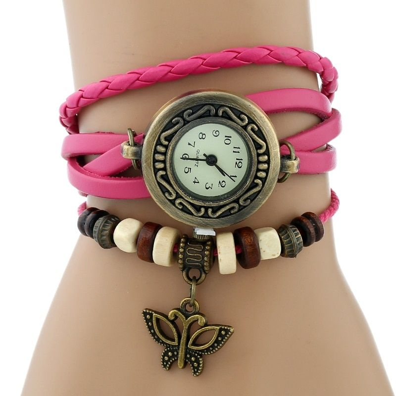 Gnova Platinum Genuine Leather Bracelet  Women Watch Hollowed butterfly charm casual quartz wristwatch ethnic fashion A888