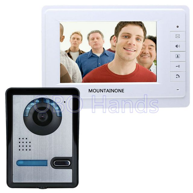 Free shipping 7'' wired color video door phone Intercom system video doorbell kit IR 1 outdoor camera +1 monitor 819FA11