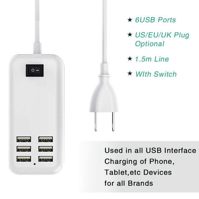 6USB Ports Charger 5V 3.1A Output EU Plug Universal Portable Travel Charger Adapter for iPhone 1.5m Line WIth Switch for Samsung