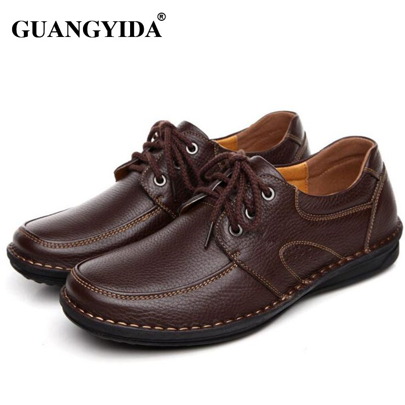 2017 Hot Sale Men Leather shoes Black Brown Men Flats Shoes,Hand Sewing Men Oxfords Zapatos Hombres,Trendy Leather Shoes