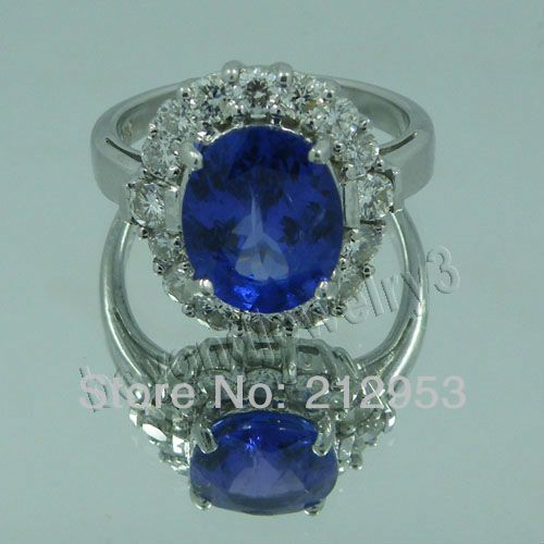 Vintage Oval 8x10mm 18k White Gold Natural  Blue Tanzanite Wedding Ring