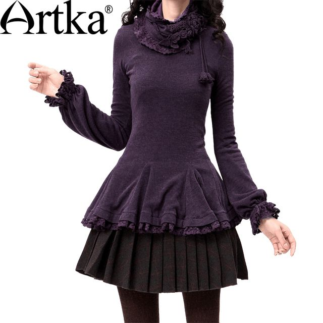Artka Women's Autumn Vintage Slim Basic T-Shirt Removable Scarf Long-Sleeve Lace Ruffled Hem Casual T-shit ZA10032D