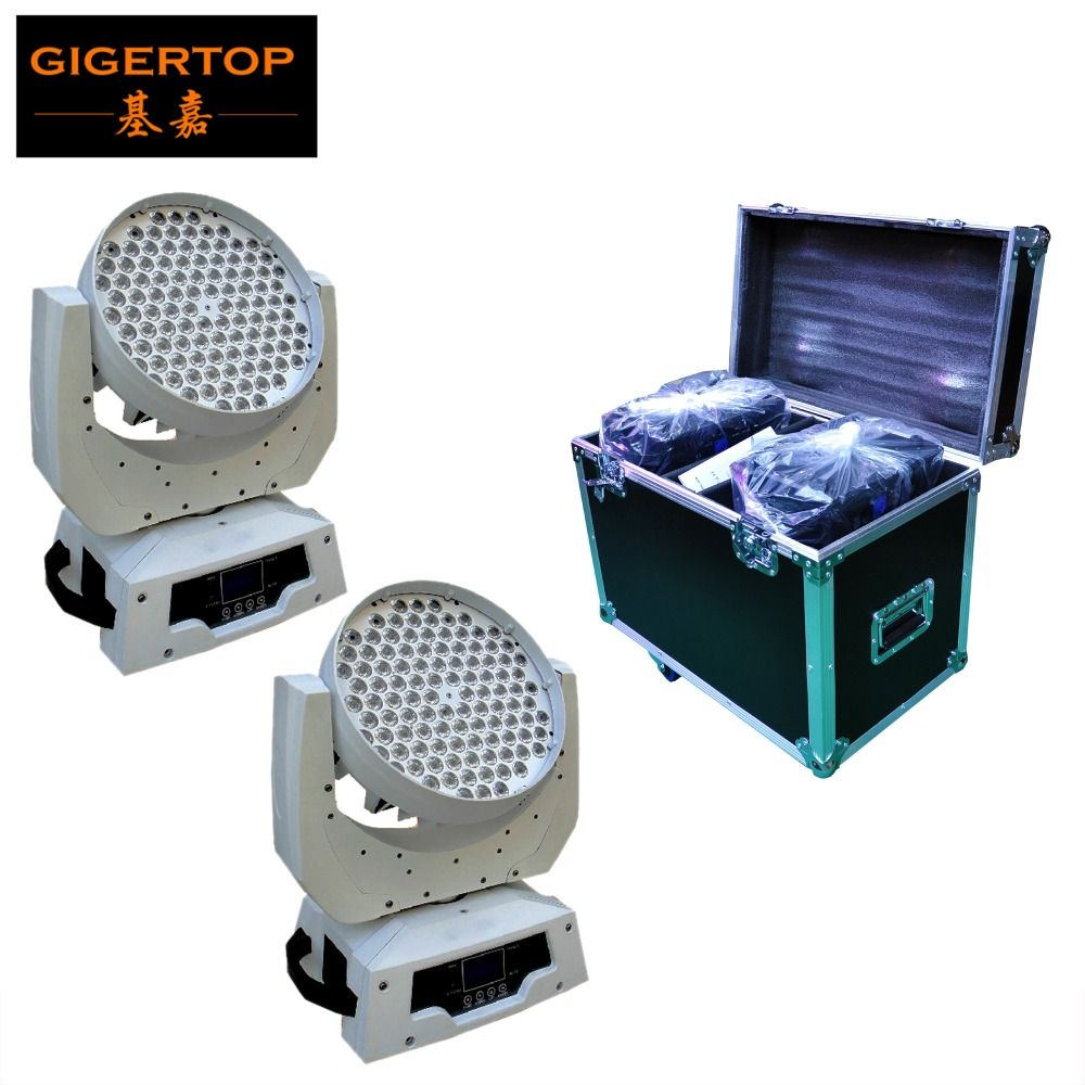 Freeshipping Flightcase + 2PCS 108 x 3W Led Moving Head Light RGBW stage Light 360W White Housing DMX 13 CH Road Case,Rack Case
