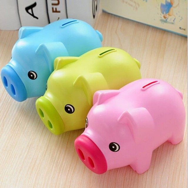 Portable Cute Plastic Piggy Bank Saving Cash Coin Money Box Children Toy Kids Gifts Home Collection 3 Colors
