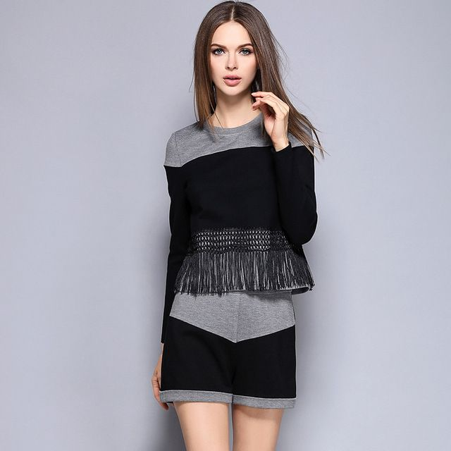 High Quality Women Autumn Spring 2 pieces set Tassel T-shirt+shorts Ladies Patchwork T-shirt+shorts Ladies Clothing Set M2261