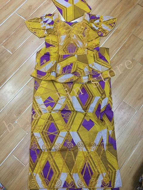 African super wax/kitenge clothes make by cording embroidery for women/lady short top with wrapper and scarf 3pcs/set