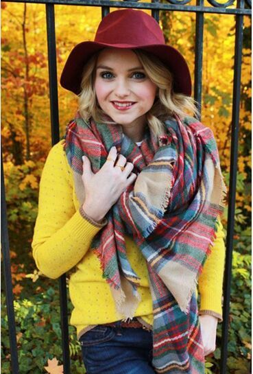 140x140cm Za winter acrylic cashmere tartan plaid scarf brand blanket shawl pashmina wrap stole for Lady Women Girl