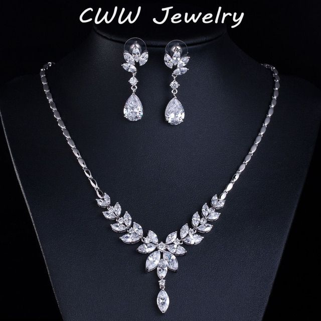 CWWZircons Gorgeous Wedding Women Accessories AAA+ Swiss Cubic Zirconia Pave Bride Jewelry Sets For Bridesmaids Gift T121