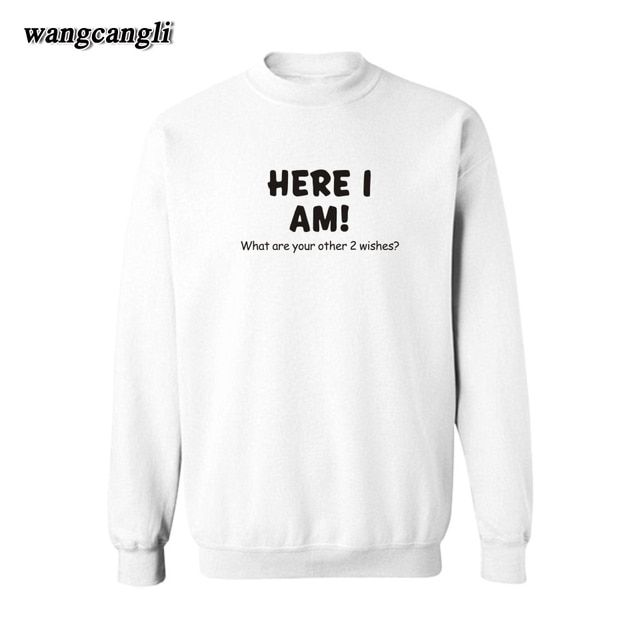 Here I am Slogan Gray Cotton Mens Hoodies Sweatshirts Men Hip Hop in Punk Hoodie Men 3xl xxl for Street Wear Style men Hoodies