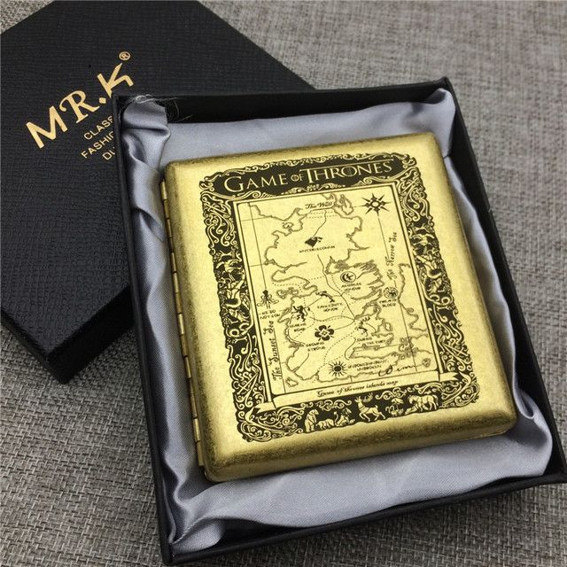 MR.K S018 Game Of Thrones Seven Kingdom Map Male Pure Copper 20 Regular Cigarette Case Boxes Smoke Box Laser Carved Forever