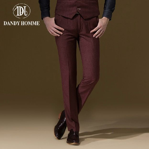 Dandy Homme High Quality 2015 Men Autumn Winter Slim Red Stripe Formal Suits Long Pants Fashion Business Wedding Groom Pant