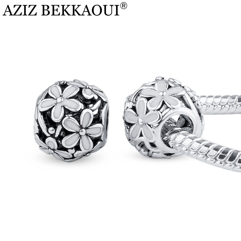 White Enamel Cherry Blossom Flower Charms Beads Fit DIY Bracelet Bangle Necklace Diy Big Hole Ball Accessories