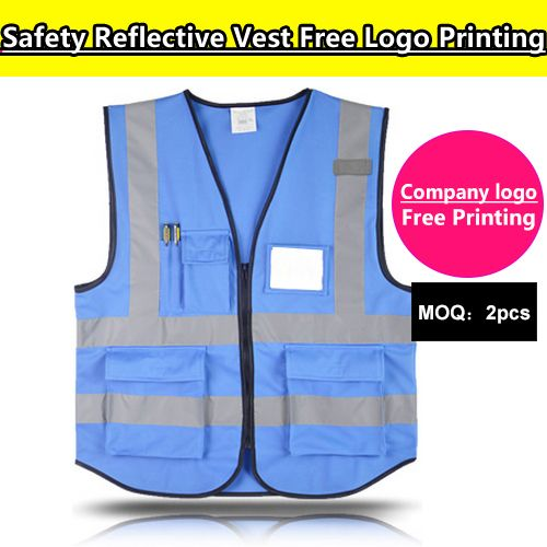 SPARDWEAR  blue safety vest /gilet with pockets free print logo name print customized screen printing logo reflective vest