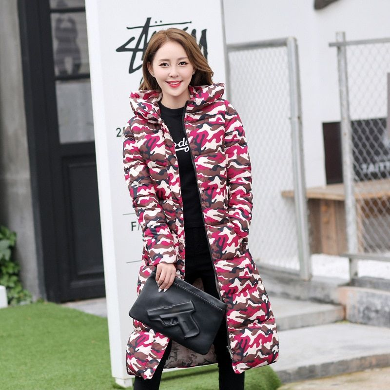 Vancol 2017 New Arrival Star Printed Thickness Female Maxi Long Cotton Coat Outwear With Hooded Parkas For Women Winter