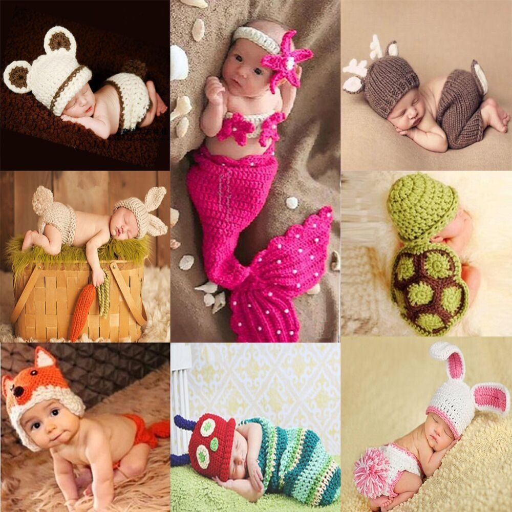 Newborn Cute Animals Crochet baby costume photography props knitted hat infant baby photo props new born outfits accessories