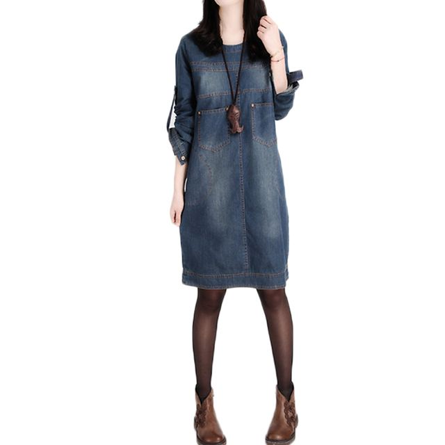 Autumn Winter Jeans Denim Dress Casual Elegant Vintage Loose Plus Size T Shirt Office Jeans Dress Vestidos Robe 2017 New Dresses
