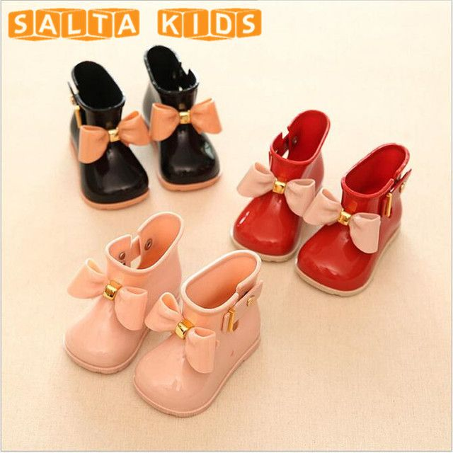 Girl Boots Baby Kids Rain Boots With Bow Girls Children Rain Shoes Bow Waterproof Child Rubber Boots Jelly Soft Infant Shoe BO28