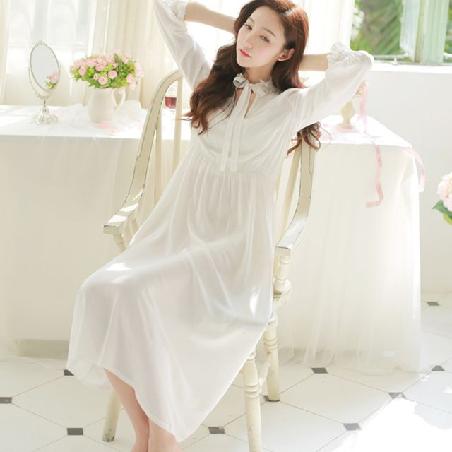 new spring and autumn long-sleeve royal princess nightgown cotton white aesthetic full dress lounge sleepwear