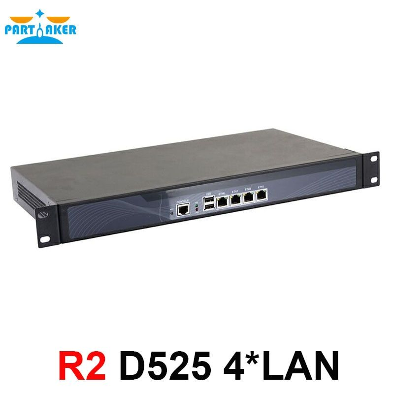 Partaker R2 4 82583v Ethernet Ports Intel Atom D525 Cabinet Firewall Hardware with Rack Ears 2GB RAM 32GB SSD