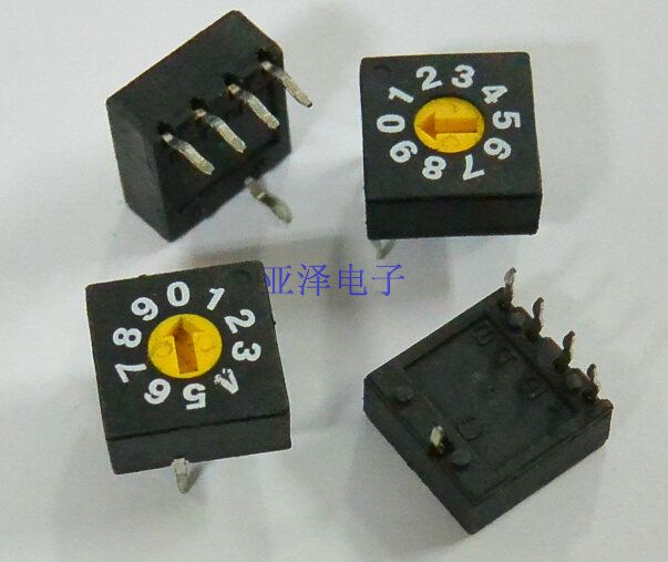 Taiwanese rotary encoder switches 0-9 DIP switch 10 PCB coding switch 8421C positive code of 4: 1