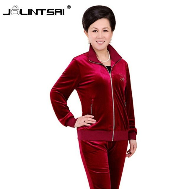 New 2016 fashion hot sale middle-age women's hoodies set hooded velvet high quality top grade two piece set Mother suit