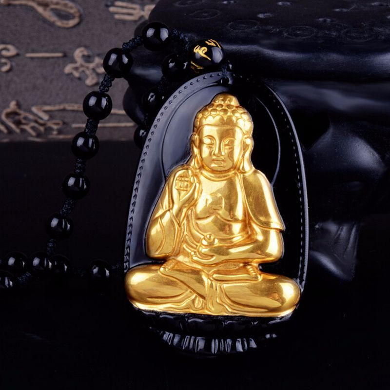 Natural Gold Black Obsidian Carved Buddha Lucky Amulet Pendant For Women Men pendants Fashion Jewelry