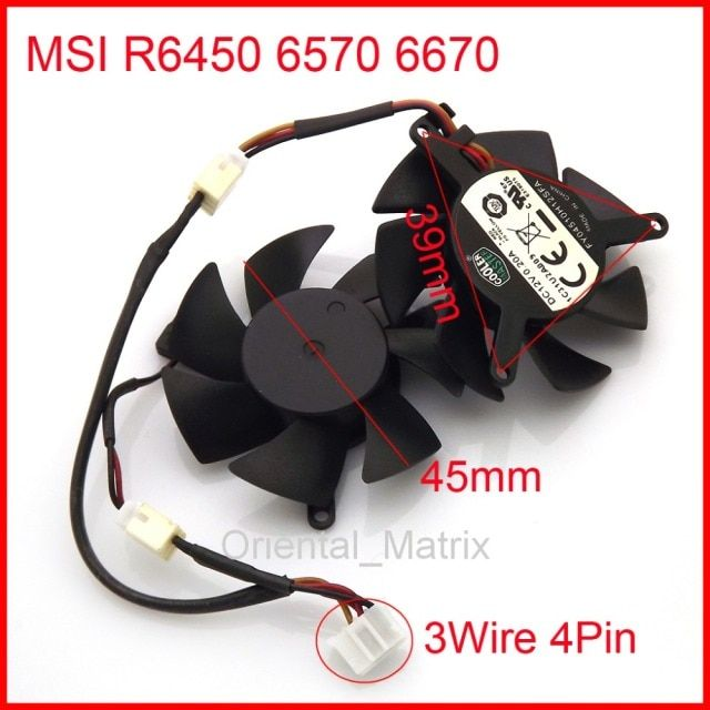 Free Shipping FY04510H12SAA 12V 0.2A 4Pin 3Wire 45mm 39*39*39mm For MSI R6450 6570 6670 Graphics / Video Card Cooler Cooling Fan