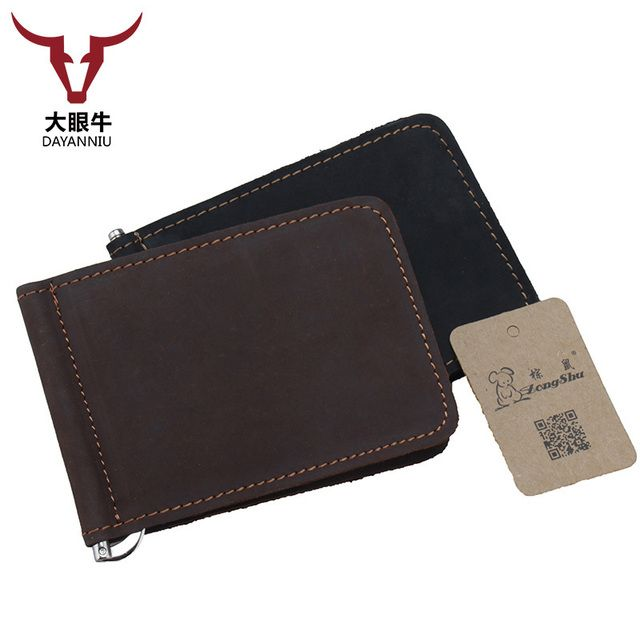 Hommes spring mens travel fashion vintage genuine leather uni color stainless steel money clip (customization available)