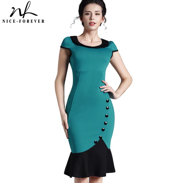 Nice-forever Plus size Patchwork Dress sleeveless Women Elegant office Button Mermaid Work Wiggle Pencil casual Dress 854