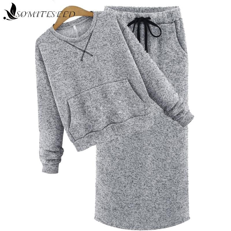 Autumn Casual Two Pieces Set Women High Waist Knitted Skirts Set 2 Piece Set Skirt Sweatshirt Knitted Tracksuit Long Skirt Suit