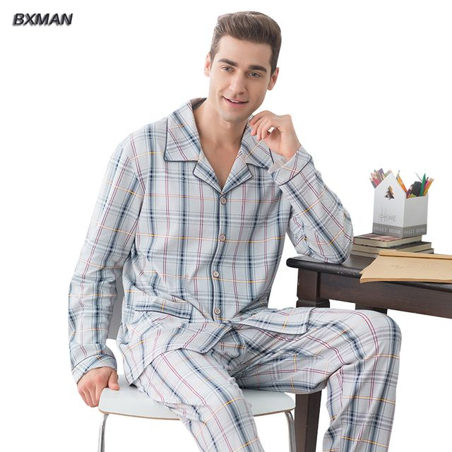 BXMAN Brand Men Pajamas Sets Spring Pajamas 95% Cotton Plaid Turn-down Collar Full Length