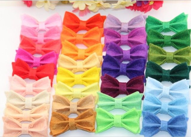 120pcs/lot Free Shipping Tiny Felt Bow without clips Hair Accessories Children Accessories Hair Flower