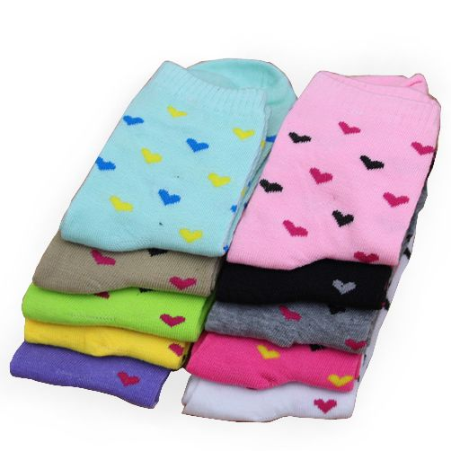 Hot Sale Fashion Multi Colors Mix Cotton Heart-shaped Design Women Socks Autumn Winter Warm Comfortable Sweet Sock Free Shipping