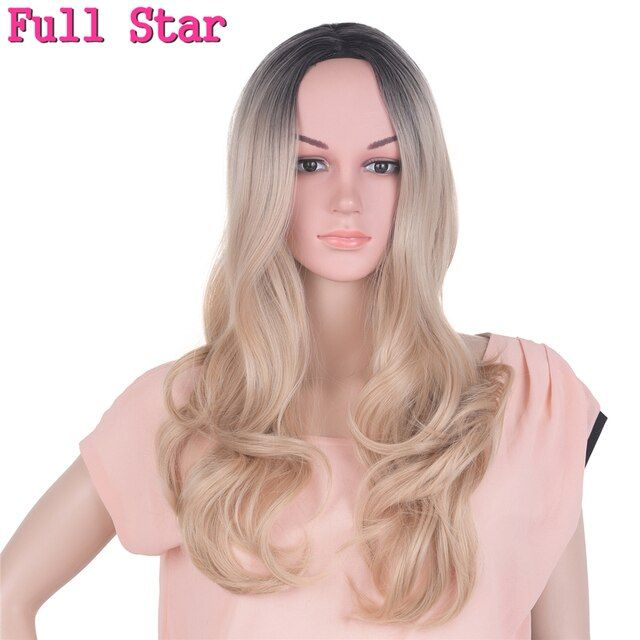 Full Star Black Ombre Blonde Wigs High Temperature Fiber 24 Inch 280g for Full Head Nature Wave Long Ombre Synthetic Wig