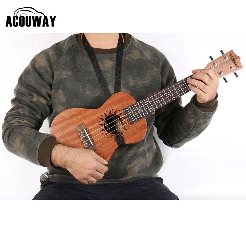 "Acouway ukulele Guitarlele strap belt sling with hook Adjustable length Fits All 21"" 23"" 26"" Ukulele"