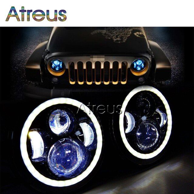 Atreus Auto Headlight Assembly For Jeep Wrangler JK CJ Accessories 1Pair 7Inch 40W Round LED Car Light Source Angel Eyes 10-30V