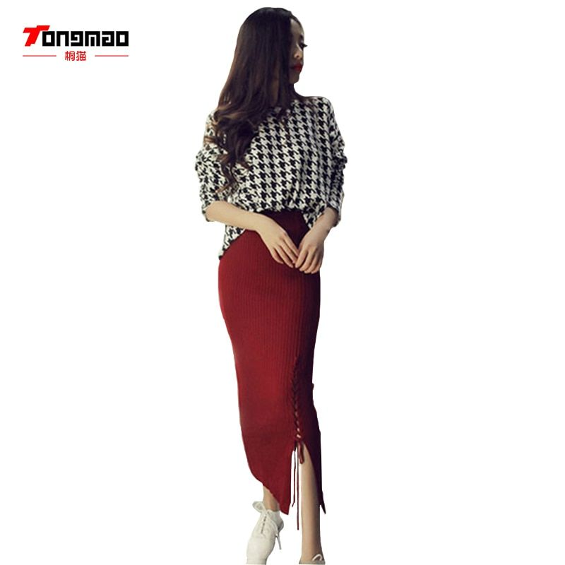 2018 Autumn Brand New High Quality Fashion Warm Solid Color Knitted Tight Split Pencil Knit Skirts Women Winter Long Skirts