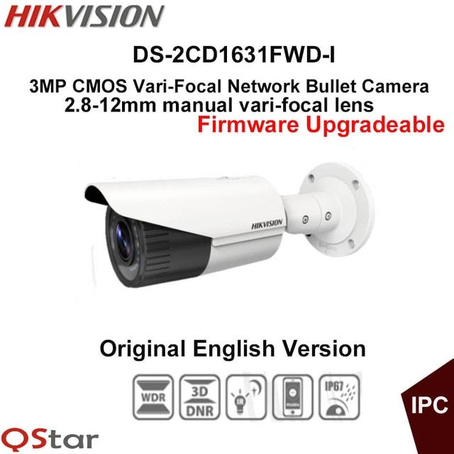 Hikvision Original English CCTV Camera DS-2CD1631FWD-I 2.8-12mm Manual lens 3MP Vari-Focal Bullet outdoor IP Camera POE IP67