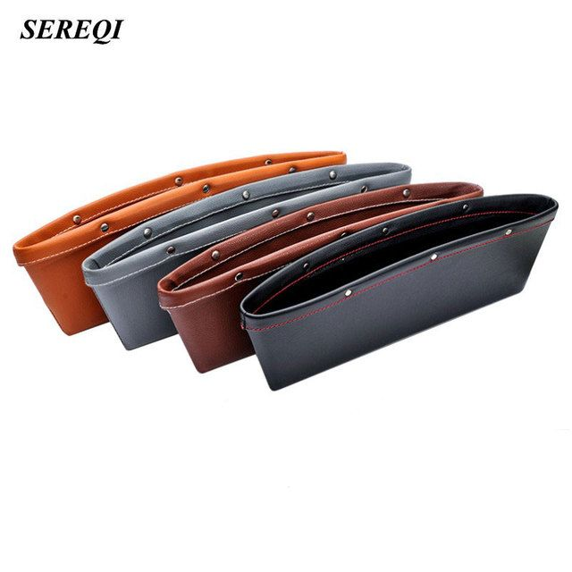 SEREQI 4 Colors 2 PCS/1Set Multifunction Genuine Leather Storage Box For Car Seat Crevice Tidying Storage Organizer Holder Case