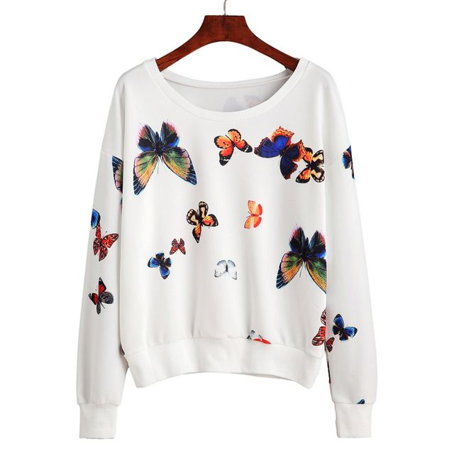 Top Fashion Sweatshirt Women Butterfly Printed long Sleeve Sweatshirt Pullovers Autumn winter Colthing Plsu Size High Quality