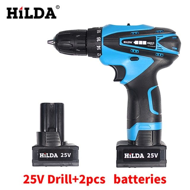 25V Cordless Screwdriver Electric Drill Two-Speed Rechargeable 2 pcs Lithium Batteries Waterproof Drill LED Light