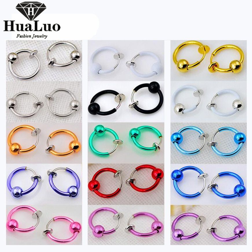 18 Colors Nose Hoop Nose Rings Body Fake Piercing Rings Jewelry Body Jewelry Earrings Septum Nose Rings LLW118-135