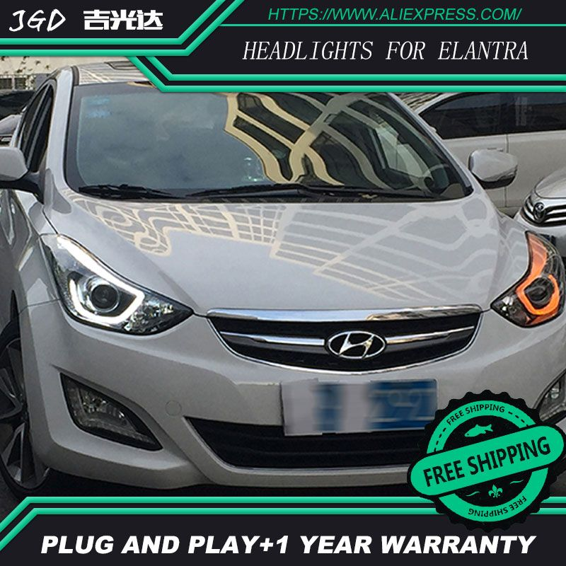 Car Styling for Hyundai Elantra Headlights 2012-2016 LED Headlight DRL Bi Xenon Lens High Low Beam Parking Fog Lamp
