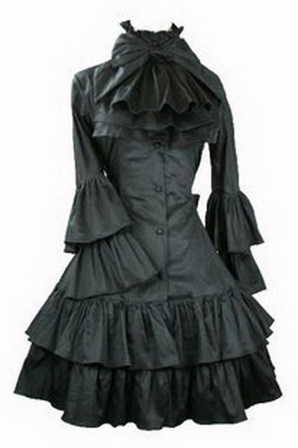 Support Dance Women Butterfly Sleeve Gothic Lolita Dress With Removable Neck Ornament L15