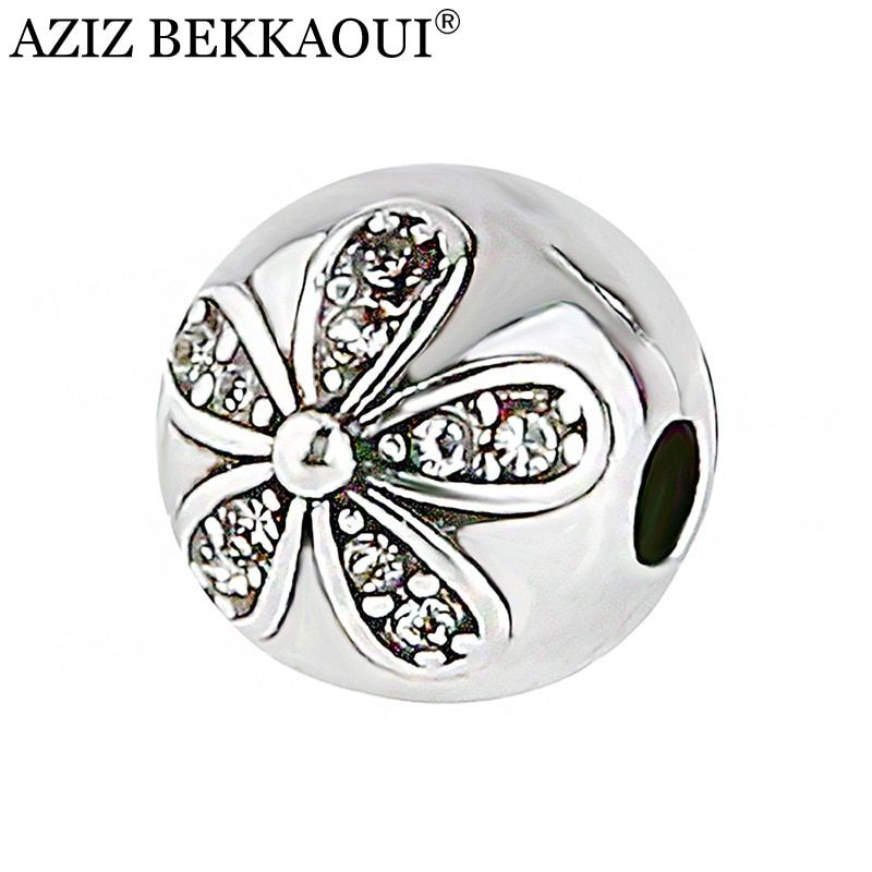 AZIZ High Quality European Flower Safety Stopper Beads Fit DIY Charms Bracelets Women Crystal Bead Clip Basic DIY Accessorie