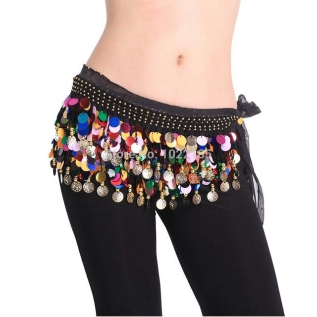 New Popular Hot Selling Dancing Coin Chain Sequin Belly Dance Hip Skirt Scarf Wrap Belt Waistband Hot