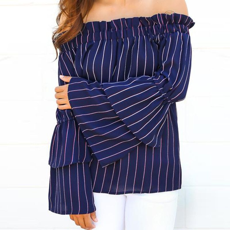 Autumn Long Sleeve Off Shoulder Striped Blouse For Women Fashion Slash Neck Flare Sleeve Shirts Blusas Mujer JL97