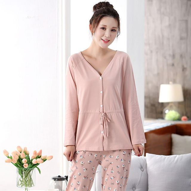 2017 New Women's Pink Pajamas Solid Color V-Neck High Quality Casual Autumn Home Wear
