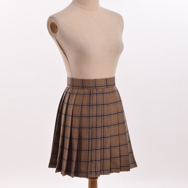 Japanese Girls Pleated Plaid  Skirt Preppy British Style Checkes School Uniform Skirts