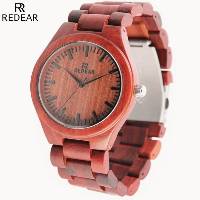 Relojes hombre 2016 mens red sandal wood watches luxury bamboo wooden watches japanese 2035 miyota movement quartz watches